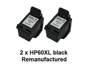 2 x Rem HP60XL CC641WA black ink cartridges for HP D2560,D5560,F2400,F4200,F4400