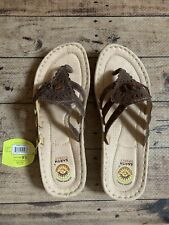 awesome shoe gelron earth spirit leather w/beads sandals womens 9.5