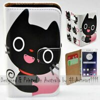 For OPPO Series - Cute Black Cat Theme Print Wallet Mobile Phone Case Cover