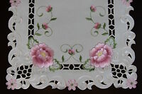 Cutwork Embroidered Lace Rose Placemat Table Runner Scarf Wedding Party Dining