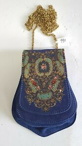 Michal Negrin Swarovski Crystal Small blue Pouch Bag With Long Metal Chain