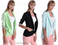 Damen Blazer Kurzjacke Jacke in 9 Farben Gr. S M L 36 38 40, 2501