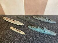 5x VARIOUS VINTAGE DIE-CAST/LEAD SHIPS INC DINKY TOYS GOOD CONDITION FOR AGE