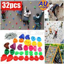 AU 32pcs Indoor Rock Climbing Stones Hand Hold Wall Climb Kit Kids+ Screws Gift