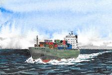 ORIGINAL AQUARELL - Containerschiff auf See.