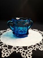 ANCHOR HOCKING FAIRFIELD BLUE GLASS DOUBLE HANDLED SUGAR BOWL