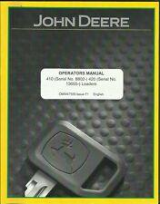 John Deere 410 (#8802) 420 (#13055) Loaders Omw47559 Issue F1 Operator's Manual