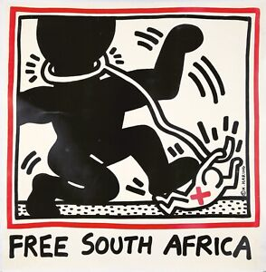 Original Vintage Poster Keith Haring Free South Africa 1985