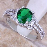 2 Ct Round Cut Green Emerald & Diamond Halo Engagement Ring 14K White Gold Over