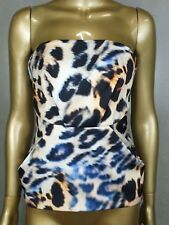 CAMEO TOP BLOUSE STRAPLESS LEOPARD PRINT TUNIC SHIRT  - X X SMALL