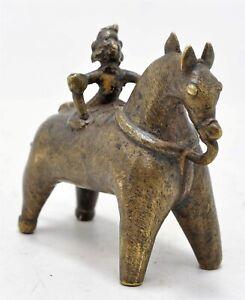 Antik Messing Pferd Mit Reiter Figur Original Alt Handgefertigt Fein Graviert