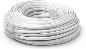 50 FT Feet Modular Phone Line Cord - High Quality 2 Conductor - White - 1 Pack
