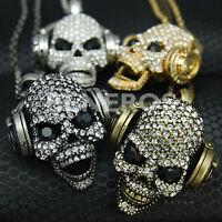 Chic DJ Headphones Skull Pendant Necklace Mens Jewelry Biker HipHop