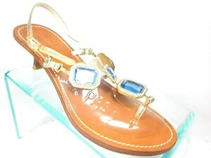 Sassy Boutique Italy Gold Leather Jeweled Heel Thong Slingback Sandals Womens 39