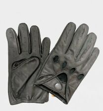 MEN'S Chauffeur Real Cowhide Leather Car Driving Gloves Black
