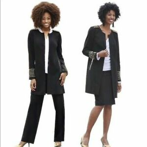 Size 12 Ashro Black Gold Khloe 3 Piece Winter Wardrober Skirt and Pant Suit Set
