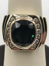 Mens Green Sapphire Ring, Diamond  Wrapped Masterpiece 14k Yellow Gold