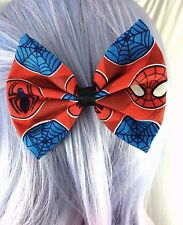 Spiderman Superhero Comic Book Handmade Hair Bow with Clip - Geeky Accessory