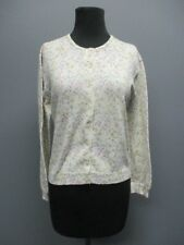 LAURA ASHLEY White Long Sleeves Button Front Floral Cardigan Sz S EE4938