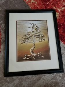 beautiful tree drawing by local artist in pencil - D.Miyasato - SIGNED - FRAMED