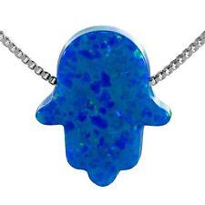 Sterling Silver 925 Blue Opal Hamsa Hand of Fatima Pendant Necklace Good Charm