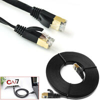 Network Cat7 Ethernets Cable Gold Ultra-Thin Flat 10Gbps Sstp Lan Leads Lot JF