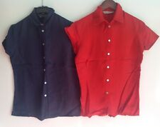 POETRY LONDON ( WRAP ) Red Blue Bundle Short sleeved Linen Blouses Size 8 NEW