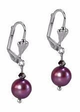 Purple Fresh Water Pearls Dangle Drop Silver Earrings By Grace Of New York