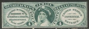 U.S. #RS49c SCARCE Unused - 4c Green, Cannon & Co, Pink Paper ($325)