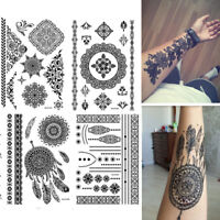 Removal Waterproof Arm Body Art Temporary Black Lace Tattoo Henna Stickers DIY