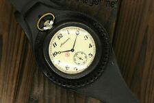 Vintage Military 3602 Wolfes Pocket Watch + WWI Style New Leather WRISTBAND WWII