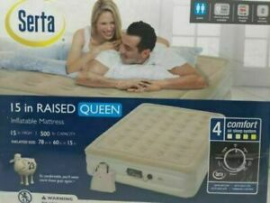 Serta 15 in Raised Queen Inflatable Mattress Beige