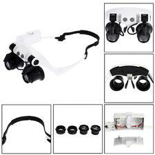 DANIU Portable Head Wearing Magnifying Glass 10X 15X 20X 25X LED Double Eye