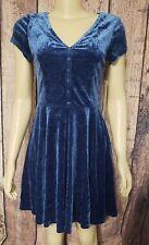 Womens Doe And Rae Velvet Flare Tie Back Blue Dress