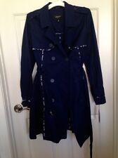 New JASON WU TARGET navy blue w/floral trim Trench Coat Jacket M Medium NWT 10 8