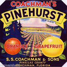 Coachman Florida Pinehurst Orange Citrus Fruit Crate Label Art Print