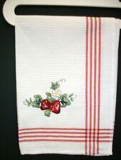 Strawberries Emroidered Kitchen Tea Towel  LARGE 19 X 27