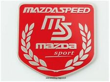 Brushed Aluminium Mazda Speed Sport Shield badge finished in red