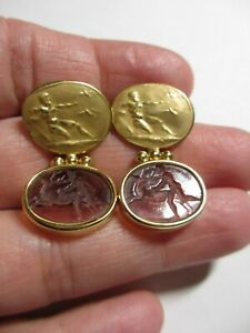MAGNIFICENT SOLID 18K YG SIGNED TAGLIAMONTE VENETIAN INTAGLIO GLASS EARRINGS-NR!