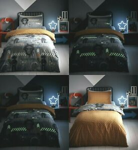 KIDS BOYS GAMER GLOW IN THE DARK GAME OVER REVERSIBLE DUVET SET SB, DB & KS SETS
