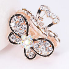 Women Vintage Crystal Rhinestone Mini Butterfly Crown Hair Claw Clip Hair Clips