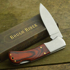 Rough Rider Rich Wood Grain Handle Pocket Knife Laser Engraved Bolsters RR182