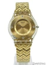 New Swiss Swatch Skin GOLDEN STREET Steel Gold Bracelet Watch 34mm SFE106G $140