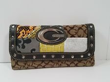 GUESS Wallet Brown LARGE TRIFOLD Snap CLOSURE