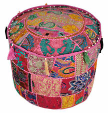Handmade Patchwork Ottoman Pouffe Cover Indian Comfortable Cotton Foot Stool