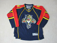 Reebok Florida Panthers Hockey Jersey Youth Extra Large Blue Red SEWN Kids Boys