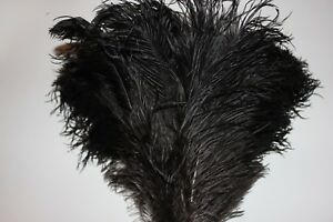 One extra large black ostrich feather duster feather head with screw connector