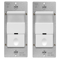 TOPGREENER PIR Motion Sensor Occupancy Detector Light Switch 2 Pack White