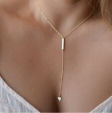 Gold Y lariat Necklace Simple Y Drop Triangle Dainty Womens Chain Necklace
