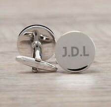 Silver Circle Engraved Personalised Initial Cufflinks Men's For Wedding Birthday
